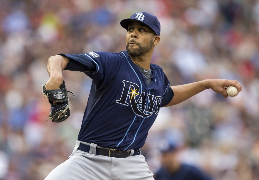 Jul 19, 2014; Minneapolis, MN, USA; Tampa Bay Rays starting pitcher David Price (14) delivers a pitch in the first inning against the Minnesota Twins at Target Field. Mandatory Credit: Jesse Johnson-USA TODAY Sports