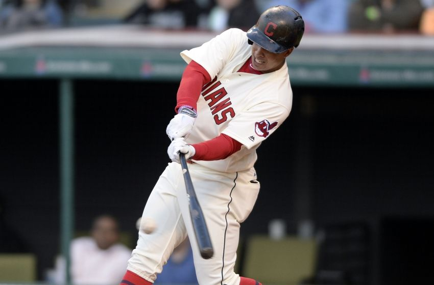 May 3, 2016; Cleveland, OH, USA; Cleveland Indians left fielder Michael Brantley (23) hits an RBI single during the third inning against the Detroit Tigers at Progressive Field. Mandatory Credit: Ken Blaze-USA TODAY Sports