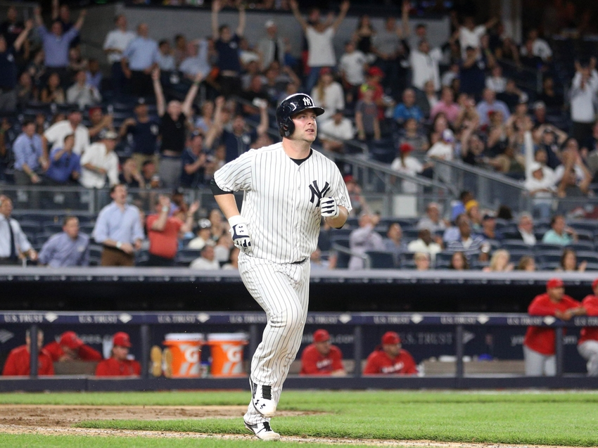 Jun 6, 2016; Bronx, NY, USA; New York Yankees catcher Brian McCann (34) rounds the bases after hitting a solo home run against the Los Angeles Anglels during the seventh inning at Yankee Stadium. Mandatory Credit: Brad Penner-USA TODAY Sports