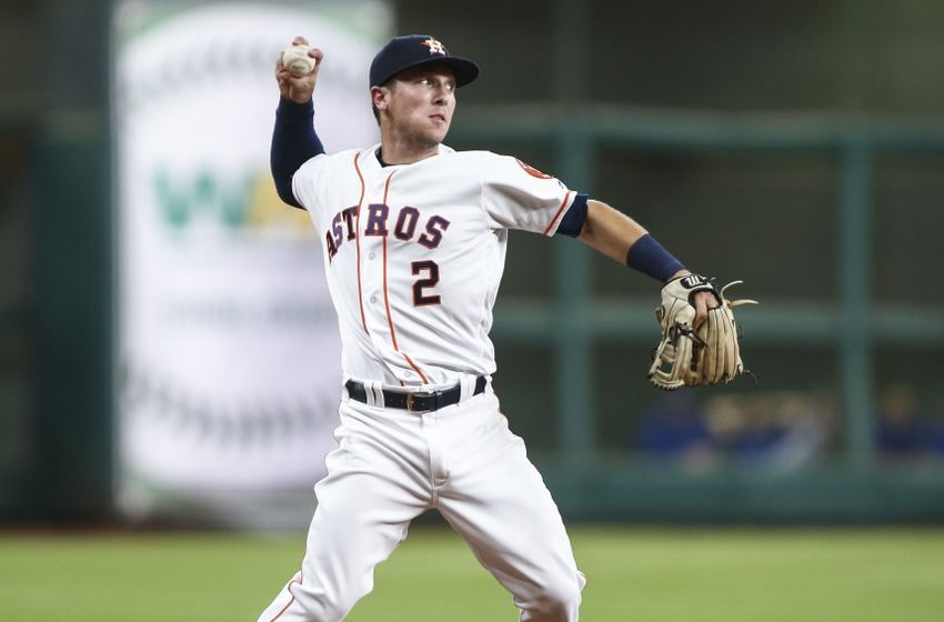 Aug 1, 2016; Houston, TX, USA; Houston Astros third baseman Alex Bregman (2) throws out a runner at first base during the third inning against the Toronto Blue Jays at Minute Maid Park. Mandatory Credit: Troy Taormina-USA TODAY Sports
