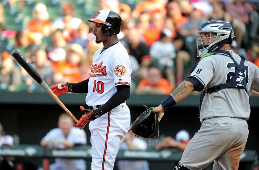 Sep 4, 2016; Baltimore, MD, USA; Baltimore Orioles outfielder Adam Jones (10) reacts after striking out in the ninth inning against the New York Yankees at Oriole Park at Camden Yards. Mandatory Credit: Evan Habeeb-USA TODAY Sports