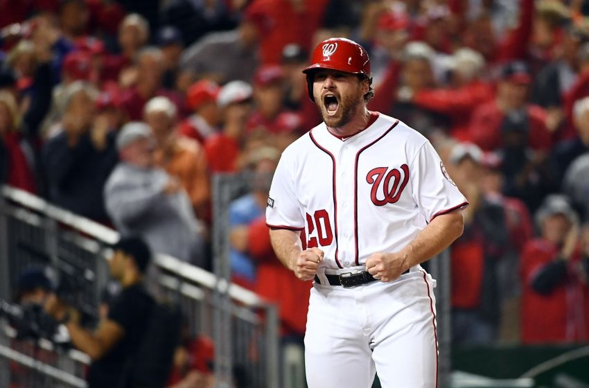 Oct 13, 2016; Washington, DC, USA; Washington Nationals second baseman Daniel Murphy (20) reacts after scoring a run against the Los Angeles Dodgers during the second inning during game five of the 2016 NLDS playoff baseball game at Nationals Park. Mandatory Credit: Brad Mills-USA TODAY Sports