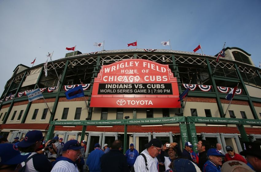 Oct 28, 2016; Chicago, IL, USA; General view of the outside of Wrigley Field before game three of the 2016 World Series between the Chicago Cubs and the Cleveland Indians. Mandatory Credit: Jerry Lai-USA TODAY Sports