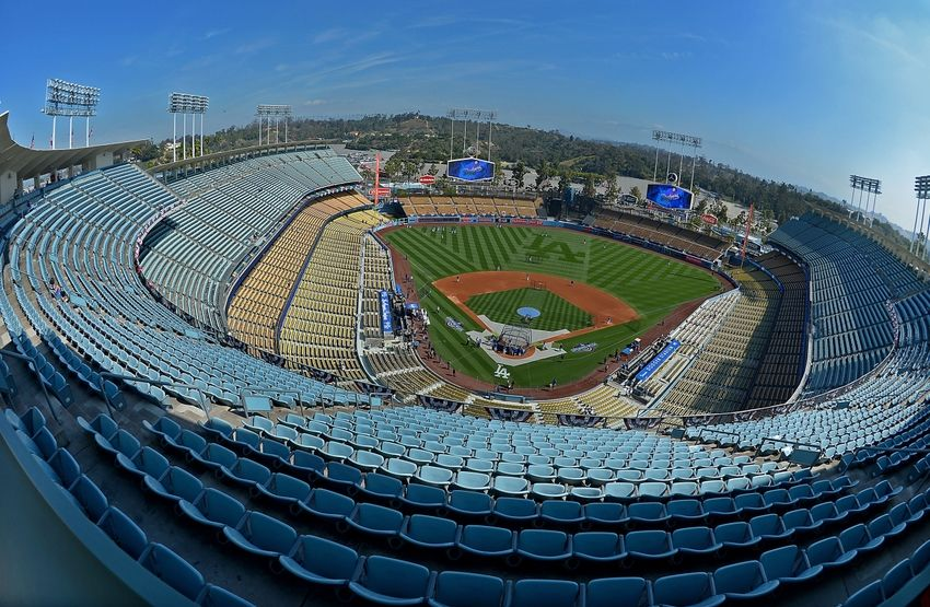 Apr 12, 2016; Los Angeles, CA, USA; General view of Dodger Stadium before the game between the Los Angeles Dodgers and the Arizona Diamondbacks. Mandatory Credit: Jayne Kamin-Oncea-USA TODAY Sports