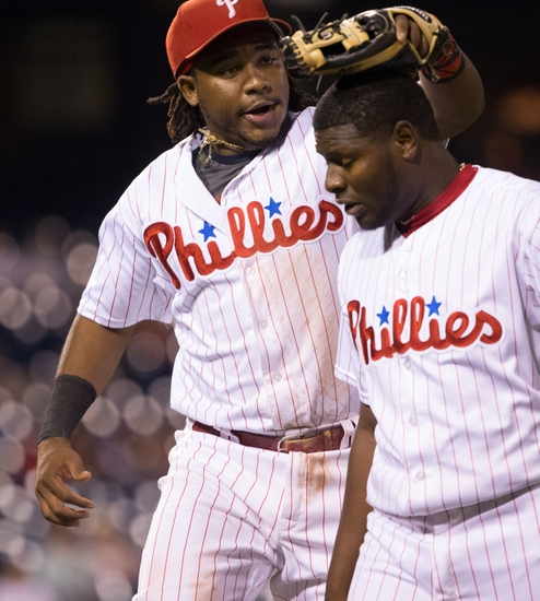 Franco Rubs Neris' Head After His Eighth-Inning Hold. Photo by Bill Streicher - USA TODAY Sports.