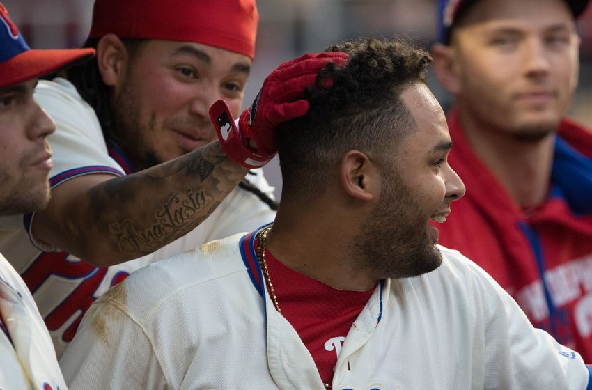 Galvis Rubs Blanco's Head in the Seventh Inning of Game 162's Victory. Photo by Bill Streicher - USA TODAY Sports.
