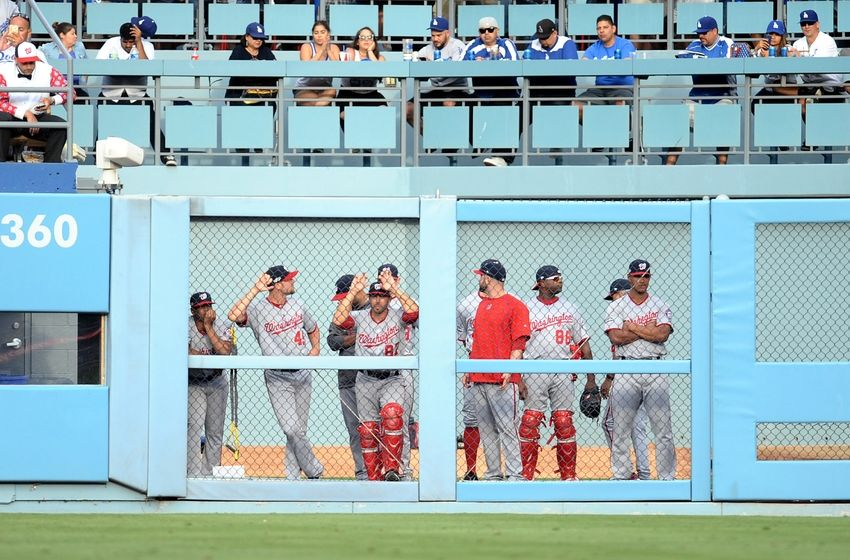 Oct 10, 2016; Los Angeles, CA, USA; The Washington Nationals bullpen watches during the ninth inning against the Los Angeles Dodgers in game three of the 2016 NLDS playoff baseball series at Dodger Stadium. Mandatory Credit: Gary A. Vasquez-USA TODAY Sports