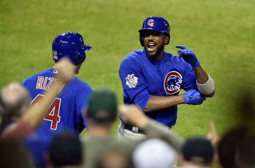 Nov 2, 2016; Cleveland, OH, USA; Chicago Cubs center fielder Dexter Fowler (24) celebrates with first baseman Anthony Rizzo (44) after hitting a solo home run against the Cleveland Indians in the first inning in game seven of the 2016 World Series at Progressive Field. Mandatory Credit: David Richard-USA TODAY Sports