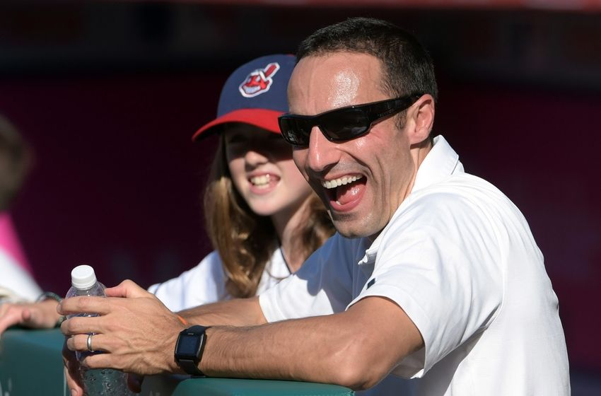 Aug 3, 2015; Anaheim, CA, USA; Cleveland Indians general manager Chris Antonetti before the game against the Los Angeles Angels at Angel Stadium of Anaheim. Mandatory Credit: Kirby Lee-USA TODAY Sports