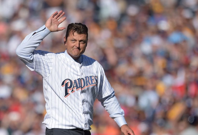 Jul 12, 2016; San Diego, CA, USA; San Diego Padres former closer Trevor Hoffman throws out the ceremonial first pitch before the 2016 MLB All Star Game at Petco Park. Mandatory Credit: Gary A. Vasquez-USA TODAY Sports