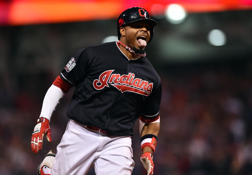 Nov 2, 2016; Cleveland, OH, USA; Cleveland Indians center fielder Rajai Davis (20) celebrates after hitting a two-run home run against the Chicago Cubs in the 8th inning in game seven of the 2016 World Series at Progressive Field. Mandatory Credit: Ken Blaze-USA TODAY Sports