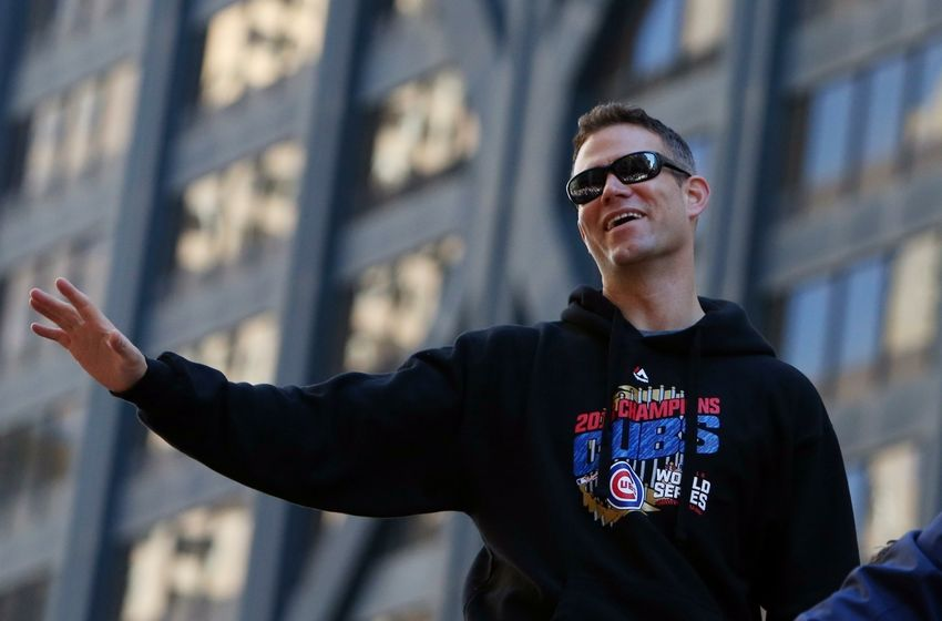 Nov 4, 2016; Chicago, IL, USA; Chicago Cubs president Theo Epstein waves to the crowd during the World Series victory parade on Michigan Avenue. Mandatory Credit: Jerry Lai-USA TODAY Sports