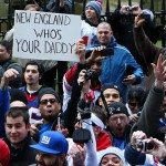 Feb 7, 2012; New York, NY, USA; New York Giants fans hold up a sign during the Super Bowl XLVI victory celebration in downtown Manhattan. Mandatory Credit: Debby Wong-US PRESSWIRE