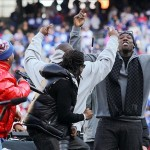 Feb 7, 2012; East Rutherford, NJ, USA; New York Giants defensive end Jason Pierre-Paul (right) dances during the Super Bowl XLVI victory celebration at MetLife Stadium. Mandatory Credit: Ed Mulholland-US PRESSWIRE