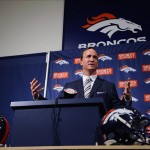 March 20 2012; Englewood, CO, USA; Denver Broncos Peyton Manning (18) speaks during a press conference at Broncos headquarters. Mandatory Credit: Ron Chenoy-US PRESSWIRE