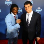 Apr 26, 2012; New York, NY, USA; Stanford quarterback Andrew Luck (right) and Baylor quarterback Robert Griffin III (left) pose for a photo on the red carpet before the start of the 2012 NFL Draft at Radio City Music Hall. Mandatory Credit: James Lang-US PRESSWIRE
