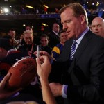 Apr 26, 2012; New York, NY, USA; NFL commissioner Roger Goodell signs autographs for fans before the 2012 NFL Draft at Radio City Music Hall. Mandatory Credit: Jerry Lai-US PRESSWIRE