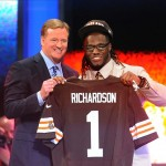 Apr 26, 2012; New York, NY, USA; NFL commissioner Roger Goodell introduces running back Trent Richardson (Alabama) as the third overall pick by the Cleveland Browns in the 2012 NFL Draft at Radio City Music Hall. Mandatory Credit: James Lang-US PRESSWIRE