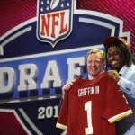 Apr 26, 2012; New York, NY, USA; NFL commissioner Roger Goodell introduces Robert Griffin III (Baylor) as the number two overall pick to the Washington Redskins in the 2012 NFL Draft at Radio City Music Hall. Mandatory Credit: Jerry Lai-US PRESSWIRE
