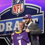 Apr 26, 2012; New York, NY, USA; NFL commissioner Roger Goodell introduces Matt Kalil (Southern California) as the number four overall pick to the Minnesota Vikings in the 2012 NFL Draft at Radio City Music Hall. Mandatory Credit: Jerry Lai-US PRESSWIRE