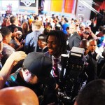 Apr 26, 2012; New York, NY, USA; Baylor quarterback Robert Griffin III walks past fans after being selected as the second overall pick by the Washington Redskins in the 2012 NFL Draft at Radio City Music Hall. Mandatory Credit: James Lang-US PRESSWIRE