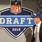 Apr 26, 2012; New York, NY, USA; Stanford quarterback Andrew Luck is introduced as the first overall pick by the Indianapolis Colts in the 2012 NFL Draft at Radio City Music Hall. Mandatory Credit: James Lang-US PRESSWIRE