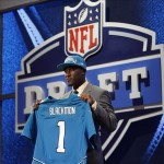 Apr 26, 2012; New York, NY, USA; Justin Blackmon (Oklahoma State) is introduced as the number five overall pick to the Jacksonville Jaguars in the 2012 NFL Draft at Radio City Music Hall. Mandatory Credit: Jerry Lai-US PRESSWIRE