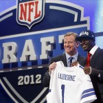 Apr 26, 2012; New York, NY, USA; NFL commissioner Roger Goodell introduces Morris Claiborne (LSU) as the number six overall pick to the Dallas Cowboys in the 2012 NFL Draft at Radio City Music Hall. Mandatory Credit: Jerry Lai-US PRESSWIRE