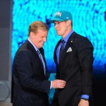 Apr 26, 2012; New York, NY, USA; NFL commissioner Roger Goodell introduces quarterback Ryan Tannehill (Texas A