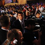 Apr 26, 2012; New York, NY, USA; Stanford quarterback Andrew Luck walks past fans after being selected as the first overall pick by the Indianapolis Colts in the 2012 NFL Draft at Radio City Music Hall. Mandatory Credit: James Lang-US PRESSWIRE