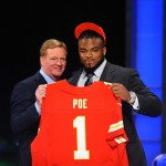 Apr 26, 2012; New York, NY, USA; NFL commissioner Roger Goodell introduces defensive tackle Dontari Poe (Memphis) as the 11th overall pick by the Kansas City Chiefs in the 2012 NFL Draft at Radio City Music Hall. Mandatory Credit: James Lang-US PRESSWIRE