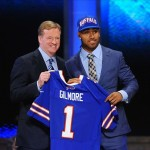 Apr 26, 2012; New York, NY, USA; NFL commissioner Roger Goodell introduces cornerback Stephon Gilmore (Buffalo) as the 10th overall pick by the Buffalo Bills in the 2012 NFL Draft at Radio City Music Hall. Mandatory Credit: James Lang-US PRESSWIRE