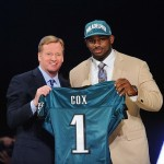 Apr 26, 2012; New York, NY, USA; NFL commissioner Roger Goodell introduces defensive tackle Fletcher Cox (Mississippi State) as the 12th overall pick by the Philadelphia Eagles in the 2012 NFL Draft at Radio City Music Hall. Mandatory Credit: James Lang-US PRESSWIRE