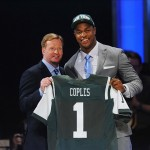 Apr 26, 2012; New York, NY, USA; NFL commissioner Roger Goodell introduces defensive end Quinton Coples (North Carolina) as the 16th overall pick by the New York Jets in the 2012 NFL Draft at Radio City Music Hall. Mandatory Credit: James Lang-US PRESSWIRE