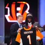 Apr 26, 2012; New York, NY, USA; NFL commissioner Roger Goodell introduces defensive back Dre Kirkpatrick (Alabama) as the 17th overall pick by the Cincinnati Bengals in the 2012 NFL Draft at Radio City Music Hall. Mandatory Credit: James Lang-US PRESSWIRE