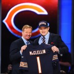 Apr 26, 2012; New York, NY, USA; NFL commissioner Roger Goodell introduces defensive end Shea McClellin (Boise State) as the 19th overall pick by the Chicago Bears in the 2012 NFL Draft at Radio City Music Hall. Mandatory Credit: James Lang-US PRESSWIRE