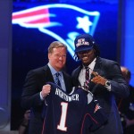 Apr 26, 2012; New York, NY, USA; NFL commissioner Roger Goodell introduces linebacker Dont
