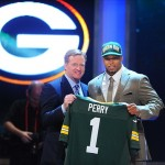 Apr 26, 2012; New York, NY, USA; NFL commissioner Roger Goodell introduces defensive end Nick Perry (Southern Cal) as the 28th overall pick by the Green Bay Packers in the 2012 NFL Draft at Radio City Music Hall. Mandatory Credit: James Lang-US PRESSWIRE