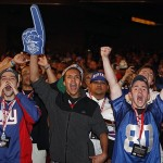 Apr 26, 2012; New York, NY, USA; New York Giant fans react to the pick of David Wilson during the 2012 NFL Draft at Radio City Music Hall Mandatory Credit: William Perlman/The Star-Ledger via US PRESSWIRE