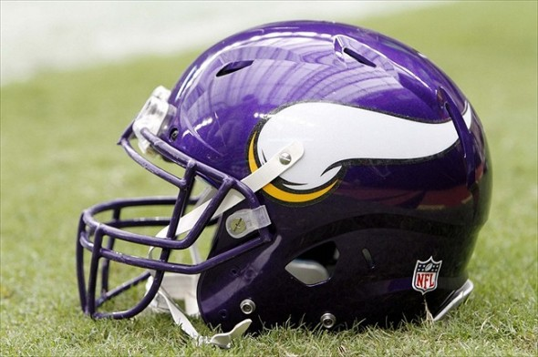 Aug 30, 2012; Houston, TX, USA; General view of Minnesota Vikings helmet on the field before a game against the Houston Texans at Reliant Stadium. Mandatory Credit: Brett Davis-USA TODAY Sports