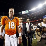 Sep 5, 2013; Denver, CO, USA; Denver Broncos quarterback Peyton Manning (18) after the game against the Baltimore Ravens at Sports Authority Field at Mile High. The Broncos won 49-27. Mandatory Credit: Chris Humphreys-USA TODAY Sports