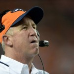 Sep 5, 2013; Denver, CO, USA; Denver Broncos head coach John Fox during the game against the Baltimore Ravens at Sports Authority Field at Mile High. The Broncos defeated the Ravens 49-27. Mandatory Credit: Ron Chenoy-USA TODAY Sports