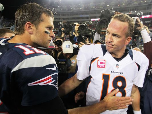 Tom Brady and Peyton Manning meet at midfield