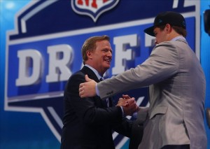 Apr 25, 2013; New York, NY, USA; NFL commissioner Roger Goodell introduces Luke Joeckel (Texas A