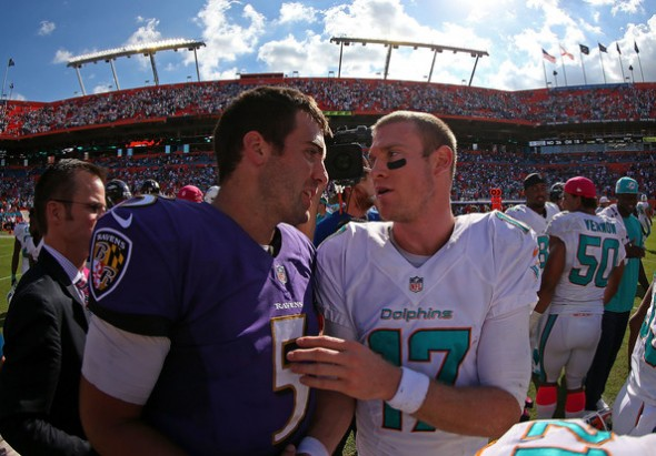 Oct. 6, 2013: Baltimore Ravens quarterback Joe Flacco (left) and Miami Dolphins quarterback Ryan Tannehill (right). Baltimore defeated Miami 26-23.