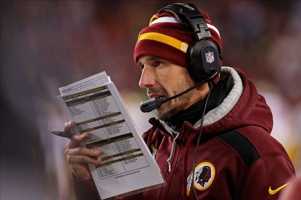 Kyle Shanahan calls a play from the sidelines against the San Francisco 49ers at FedEx Field. Mandatory Credit: Geoff Burke-USA TODAY Sports