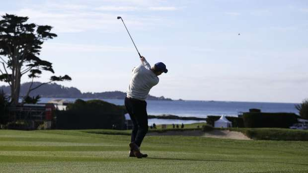 Peyton Manning showing off the golf swing... photo via Fox Sports