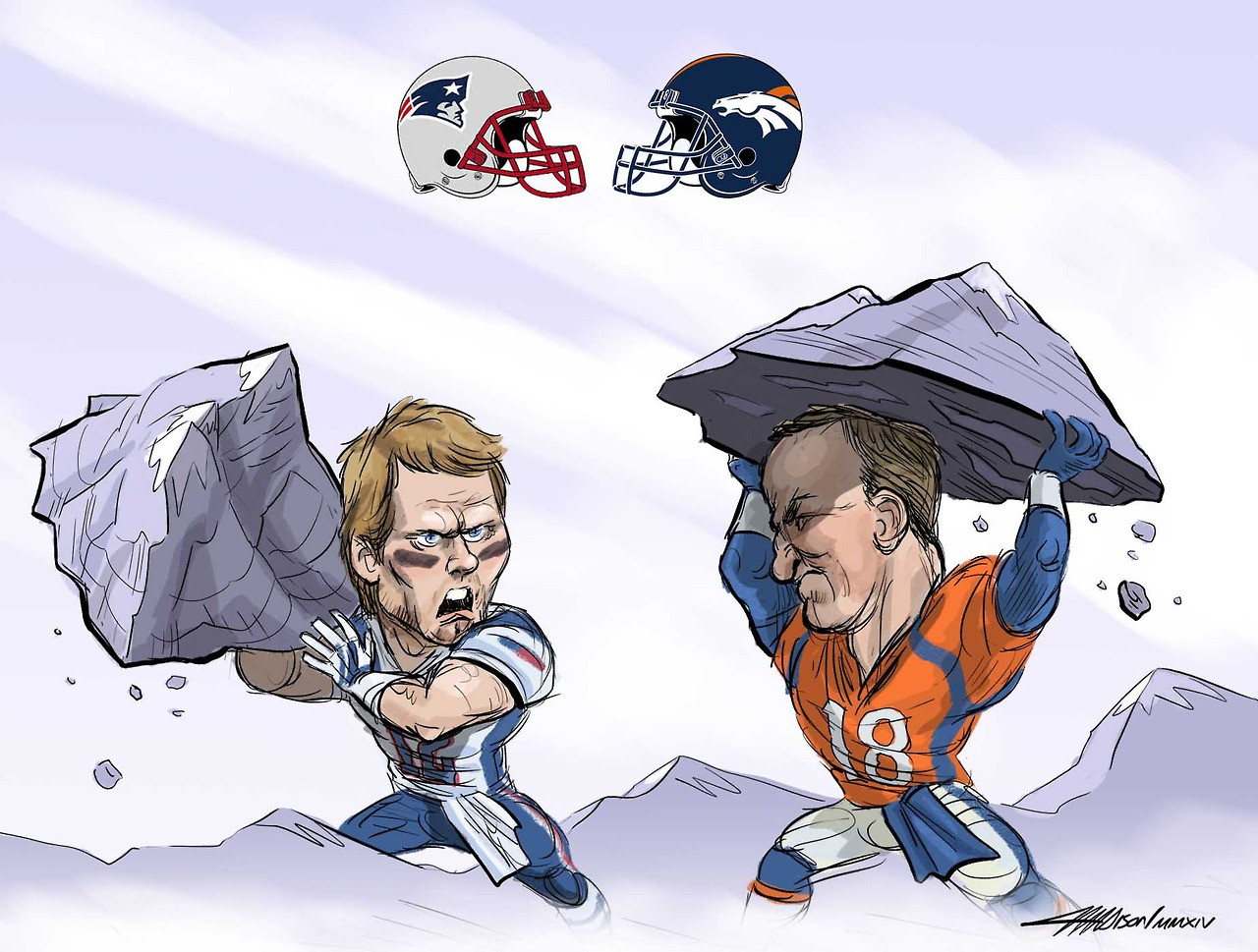 Tom Brady vs Peyton Manning via Austin Madison Pixar Artist