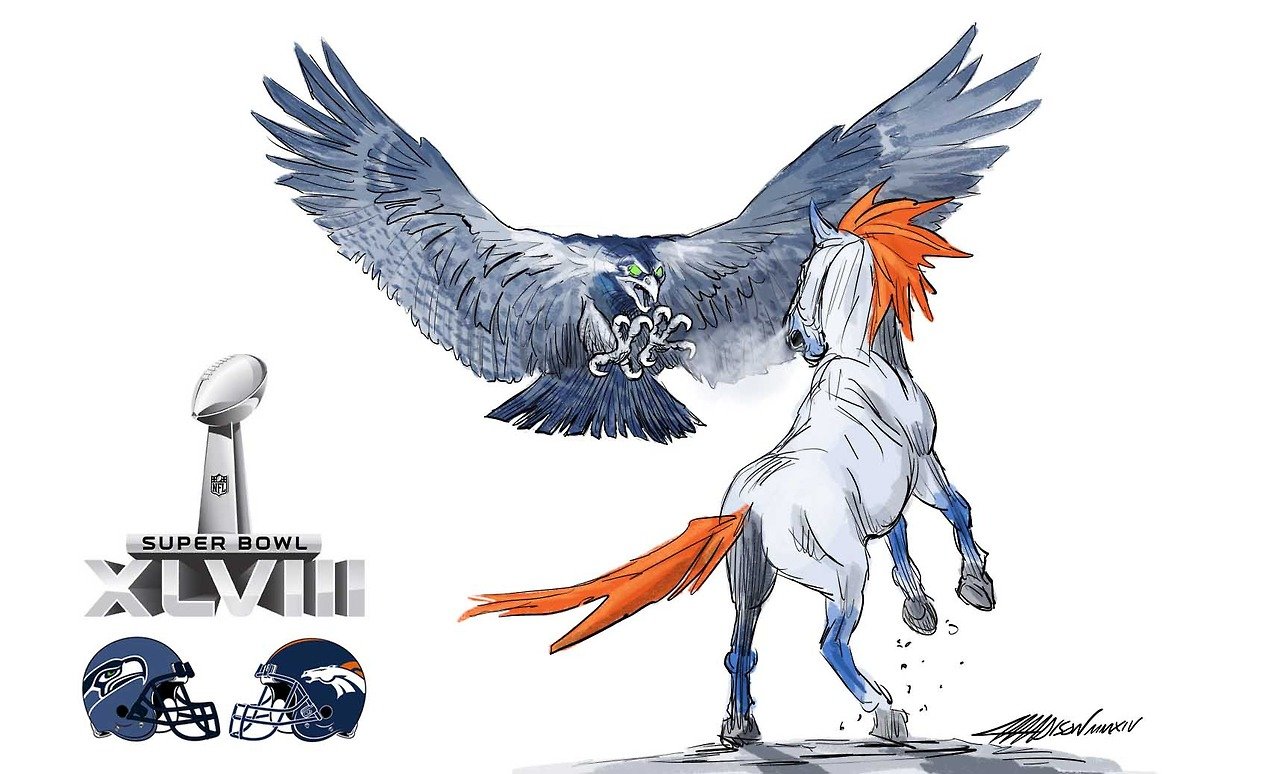 Denver Broncos vs Seattle Seahawks via Austin Madison/Pixar Artist