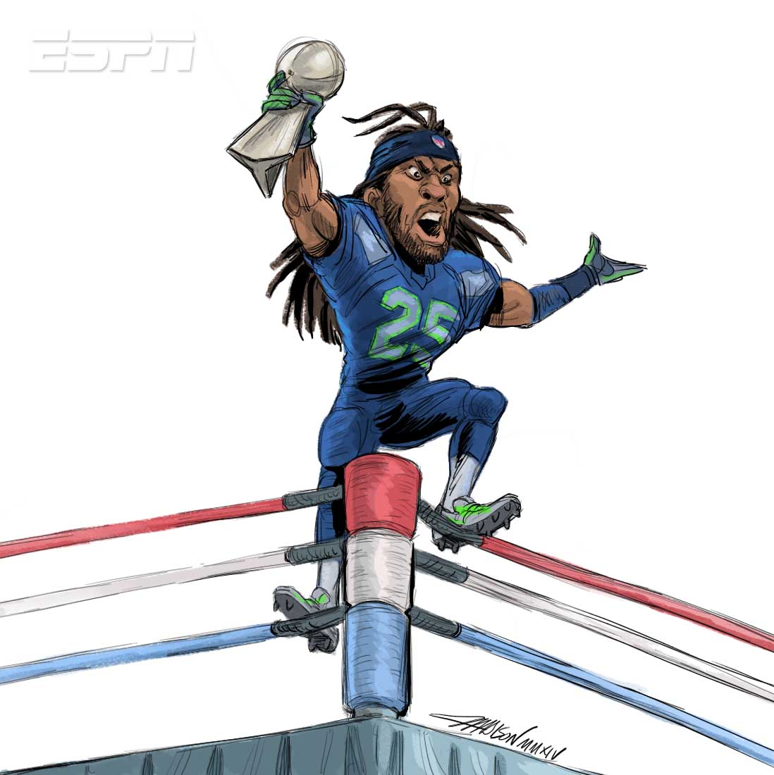 Richard Sherman showing off the Super Bowl trophy from the top ropes Via Austin Madison Pixar Artist